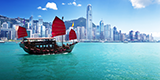 The Aqua Luna known in Cantonese as the Cheung Po Tsai sailing in Victoria Harbour Hong Kong